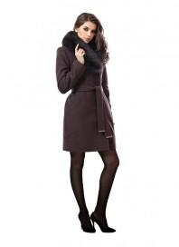 Пальто зимнее женское Авалон, съёмный воротник, из натурального песца 1982 ПЗ WT8