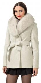 Пальто женское зимние Авалон с меховым воротником цвет жемчужный меланж 2114ПЗ WT8