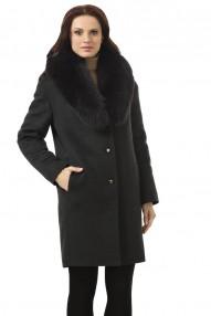 Пальто зимнее  женское Авалон,молодежное с меховым воротником «шаль» из песца крашеного в цвет ткани. 2326 ПЗ W24
